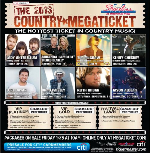 when does lineup come country megaticket